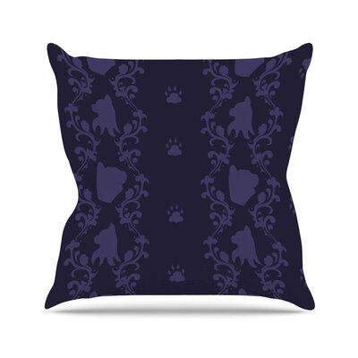 Stephanie Vaeth Cat Damask Pattern Outdoor Throw Pillow Size: 18 H x 18 W x 5 D