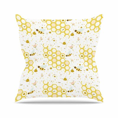 Stephanie Vaeth Honey Bees Outdoor Throw Pillow Size: 18 H x 18 W x 5 D