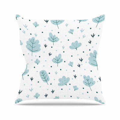 Strawberringo Leaves Pattern Nature Outdoor Throw Pillow Size: 18 H x 18 W x 5 D
