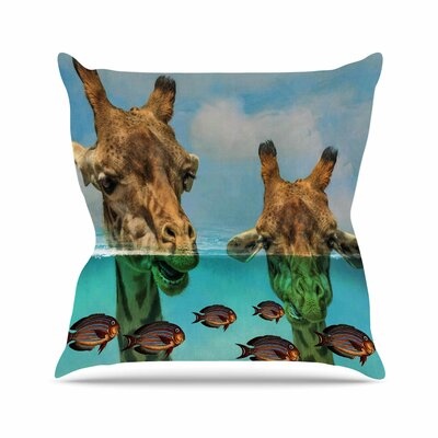 Suzanne Carter Larry & Fred Periscope Mixed Media Animals Outdoor Throw Pillow Size: 16 H x 16 W x 5 D