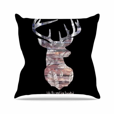 Suzanne Carter the Road Outdoor Throw Pillow Size: 16 H x 16 W x 5 D, Color: Black