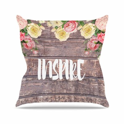 Suzanne Carter Inspire Contemporary Typography Outdoor Throw Pillow Size: 16 H x 16 W x 5 D