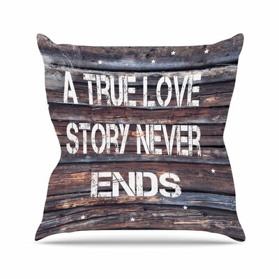 Suzanne Carter True Love Contemporary Typography Outdoor Throw Pillow Size: 18 H x 18 W x 5 D