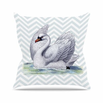 Suzanne Carter Vintage Swan Bird Chevron Outdoor Throw Pillow Size: 16 H x 16 W x 5 D