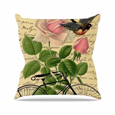 Suzanne Carter Vintage Cycle Floral Outdoor Throw Pillow Size: 18 H x 18 W x 5 D