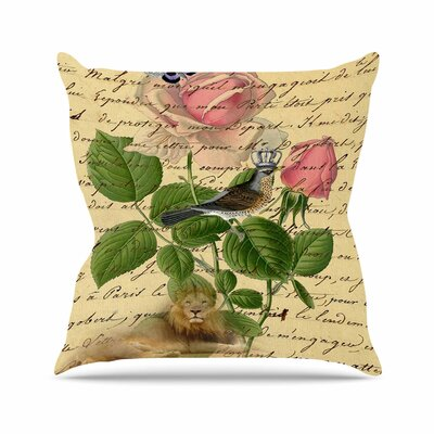Suzanne Carter Vintage Dream Floral Script Outdoor Throw Pillow Size: 16 H x 16 W x 5 D