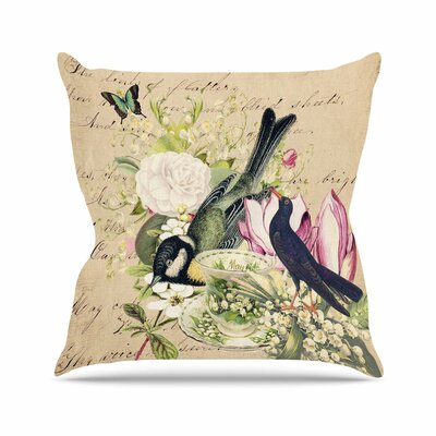 Suzanne Carter Vintage Tea Bird Illustration Outdoor Throw Pillow Size: 16 H x 16 W x 5 D