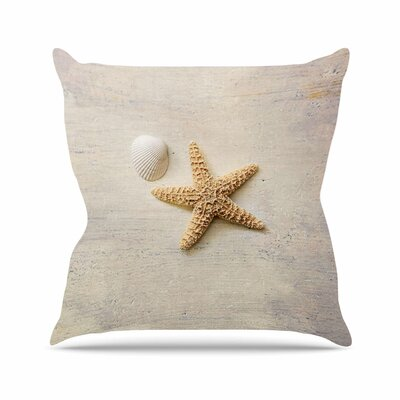 Sylvia Cook Starfish and Shell Outdoor Throw Pillow Size: 18 H x 18 W x 5 D