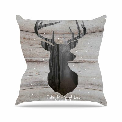 Suzanne Carter the Road - Woodgrain Outdoor Throw Pillow Size: 16