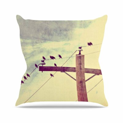Sylvia Coomes Vintage Birds on a Wire 2 Digital Outdoor Throw Pillow Size: 18