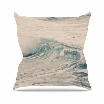 Sylvia Coomes Waves 1 Coastal Outdoor Throw Pillow Size: 18