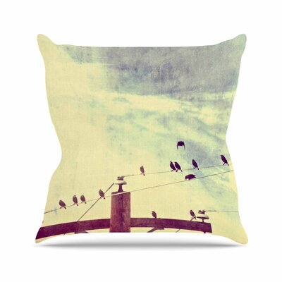 Sylvia Coomes Vintage Birds on a Wire 1 Vintage Outdoor Throw Pillow Size: 18