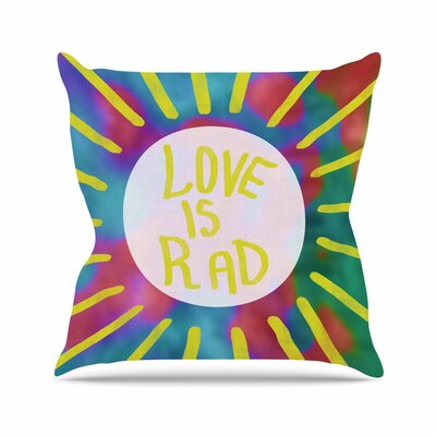 Vasare Nar Love is Rad Tyopgraphy Outdoor Throw Pillow Size: 18 H x 18 W x 5 D