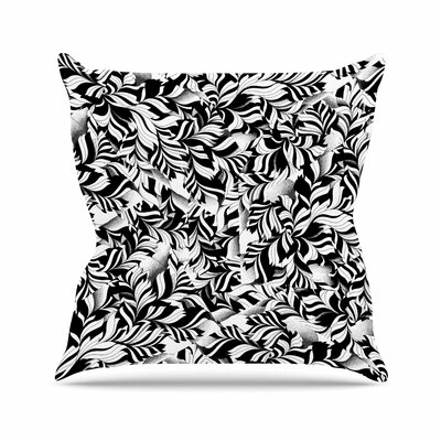 Victoria Krupp Monochrome Leaves Mosaic Nature Outdoor Throw Pillow Size: 16 H x 16 W x 5 D