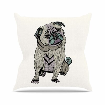 Pom Graphic Design Ares the Pug Outdoor Throw Pillow Size: 18 H x 18 W x 5 D