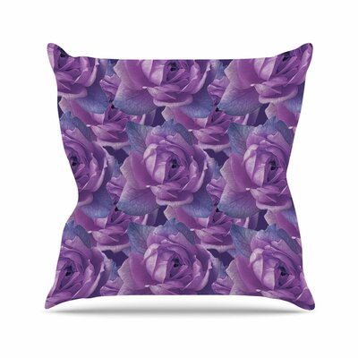 Shirlei Patricia Muniz Roses Lavender Floral Outdoor Throw Pillow Size: 16 H x 16 W x 5 D