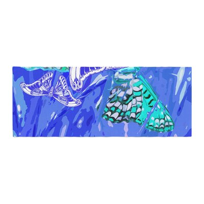 Vikki Salmela Butterflies Party Bed Runner Color: Blue