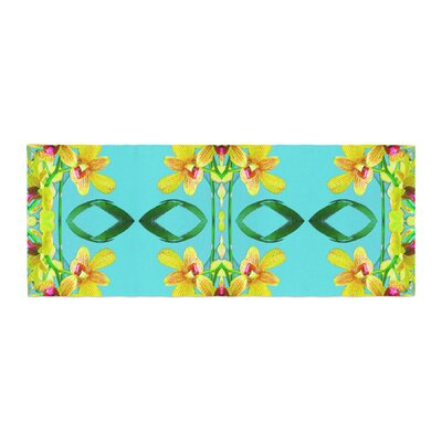 Dawid Roc Tropical Floral Orchids 3 Floral Bed Runner
