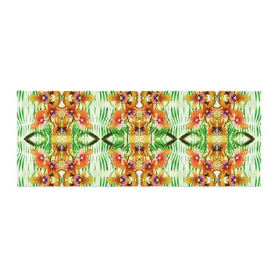 Dawid Roc Tropical Flowers-Palm Leaves Pattern Bed Runner