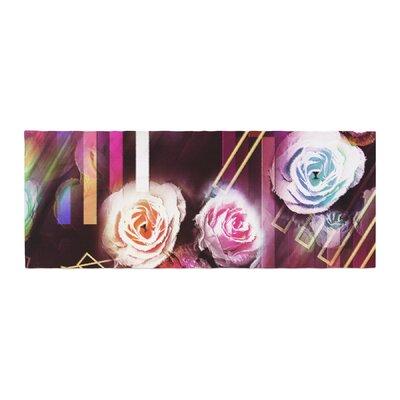 Dawid Roc Roses-Floral Geometric Stripes Bed Runner