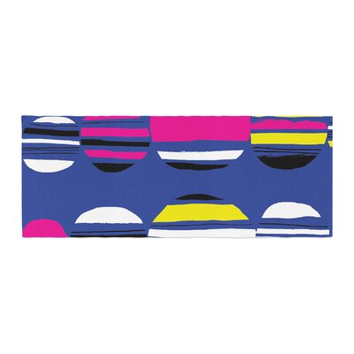 Emine Ortega Retro Circles Cobalt Bed Runner Color: Cobalt