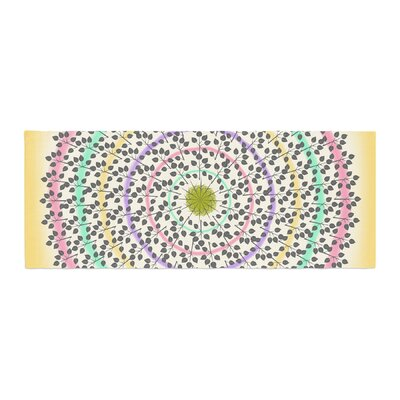 Famenxt Leafy Watercolor Mandala Abstract Bed Runner
