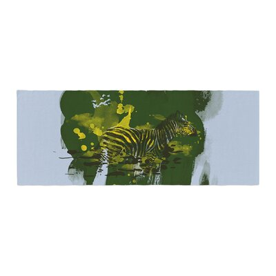Frederic Levy-Hadida Watercolored Zebra Bed Runner Color: Green