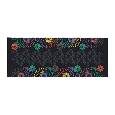 Famenxt Dark Jungle Pattern Bed Runner