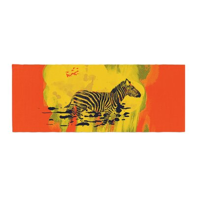 Frederic Levy-Hadida Watercolored Zebra Bed Runner Color: Red
