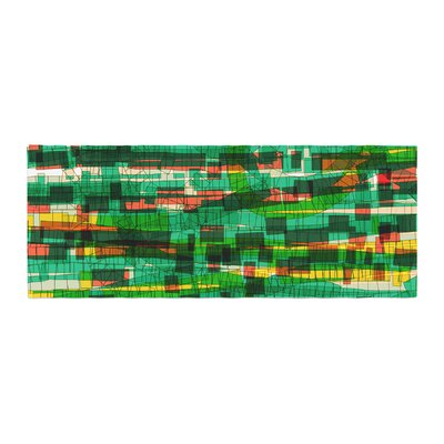 Frederic Levy-Hadida Squares Traffic Bed Runner Color: Green