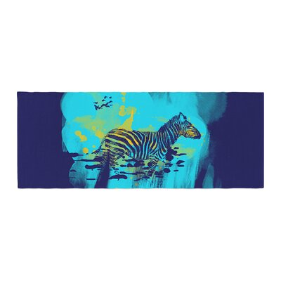 Frederic Levy-Hadida Watercolored Zebra Bed Runner Color: Blue