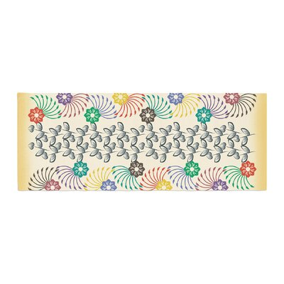 Famenxt Flowers and Leaves Pattern Abstract Geometric Bed Runner