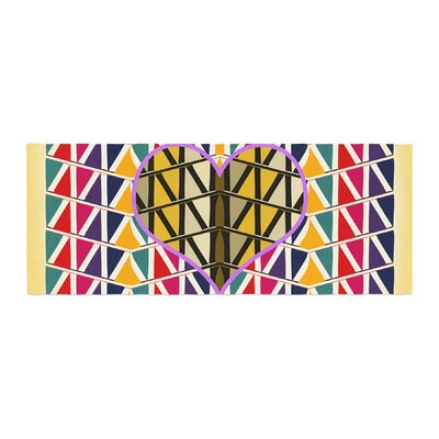 Famenxt Heart in Abstract Pattern Geometric Abstract Bed Runner