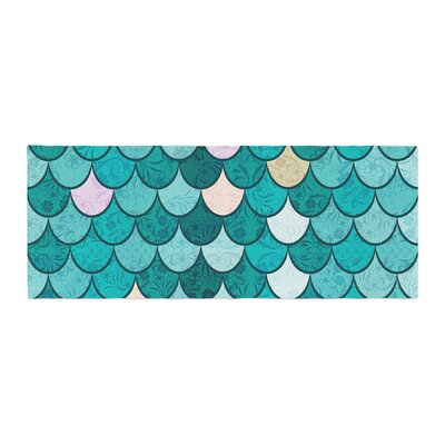 Famenxt Mermaid Fish Scales Nautical Illustration Bed Runner