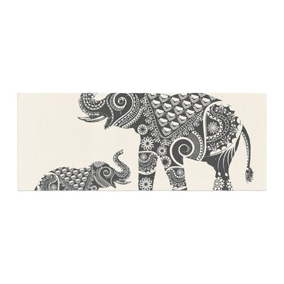 Famenxt Ornate Indian Elephant-Boho Bed Runner