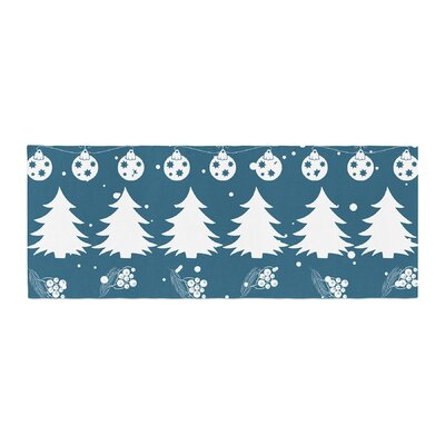 Famenxt Merry Merry Christmas Holiday Illustration Bed Runner