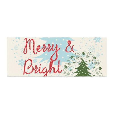 Famenxt Merry and Bright Holiday Typography Bed Runner