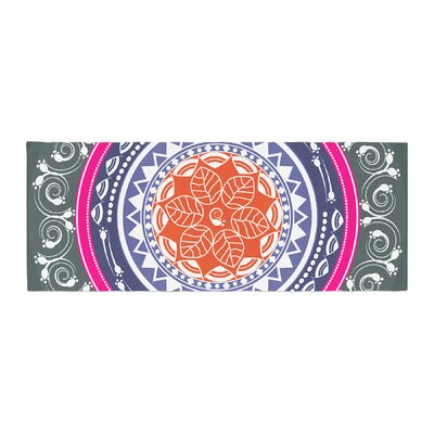 Famenxt Boho Folk Colors Mandala Digital Bed Runner Color: Olive