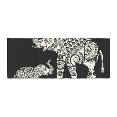 Famenxt Ornamental Indian Elephant Digital Bed Runner