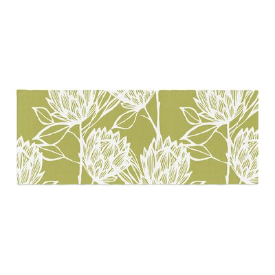 Gill Eggleston Protea Olive Flowers Bed Runner Color: White