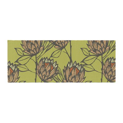 Gill Eggleston Protea Olive Flowers Bed Runner Color: Orange
