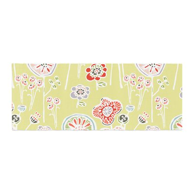 Gill Eggleston Folky Floral Lemon Bed Runner Color: Green
