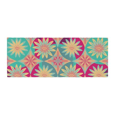 Nika Martinez Happy Flowers Floral Abstract Bed Runner