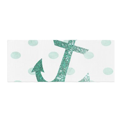 Nika Martinez Glitter Anchor Sparkles Bed Runner Color: Teal