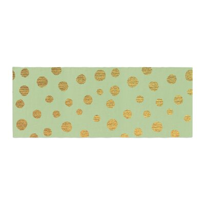 Nika Martinez Dots Bed Runner Color: Mint/Green Gold
