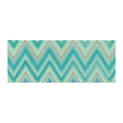 Nika Martinez Seventies Emerald Chevron Abstract Bed Runner