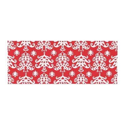 Miranda Mol Ornate Trees Holiday Bed Runner Color: Red/White