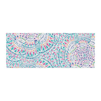 Miranda Mol Kaleidoscopic Geometric Abstract Bed Runner Color: Aqua