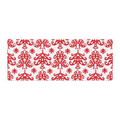 Miranda Mol Ornate Trees Holiday Bed Runner Color: White/Red