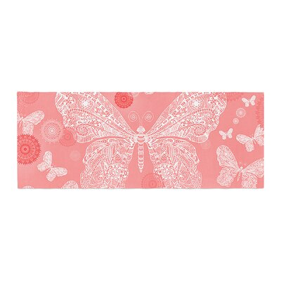 Monika Strigel Butterfly Dreams Bed Runner Color: Coral